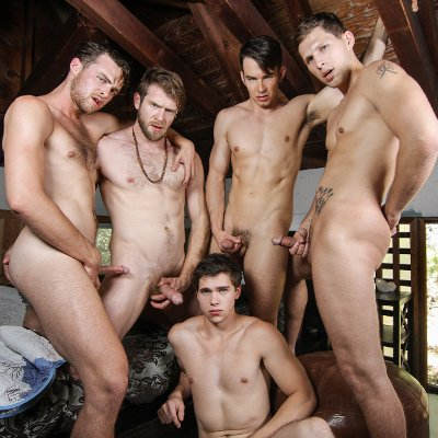 Addison Graham, Brandon Moore, Colby Keller, Roman Todd and Will Braun  - Men.com photo gallery