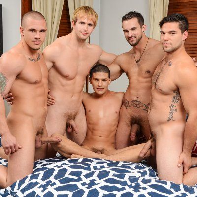 Adam, Cameron, Phenix and Aspen plow Tino - Men.com photo gallery