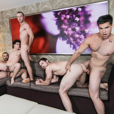 5-man jizz orgy - Men.com photo gallery
