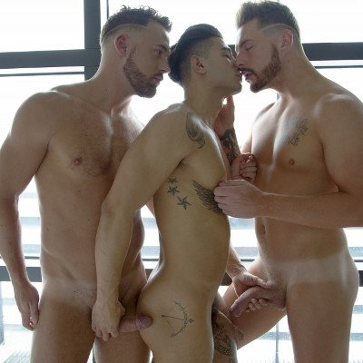 Logan Moore gets DP'd by Josh Moore and Ricky Roman - Cocky Boys photo gallery