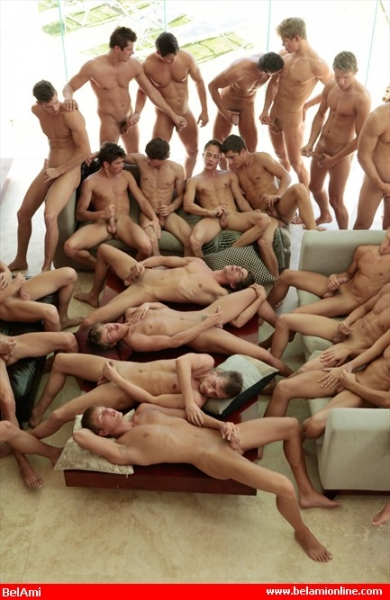 Gay group wanking