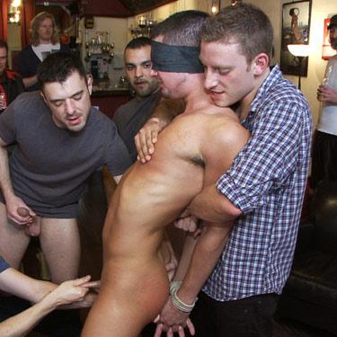 Bound gay gangbang