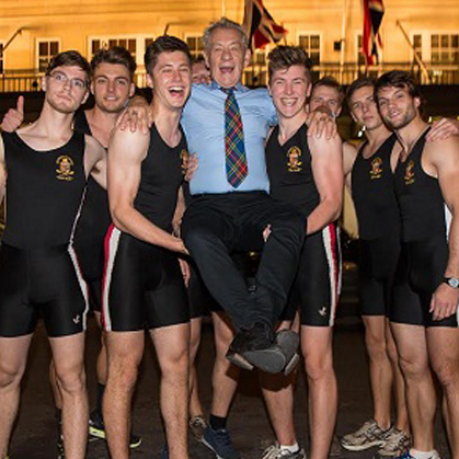 Sir Ian McKellen and the Warwick Rowers